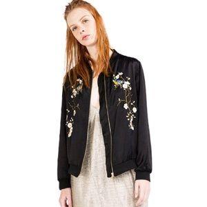 Zara Satin Embroidered Floral Birds Bomber Jacket